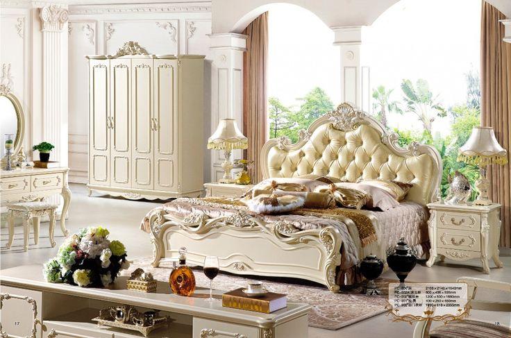 Cheap Antique style french furniture elegant bedroom sets  PC 005, Compro Qualità Letto direttamente da fornitori della Cina:  Modello: antico stile francese mobili camera da letto elegante set PC-005      Dimensione optional:     A) king s