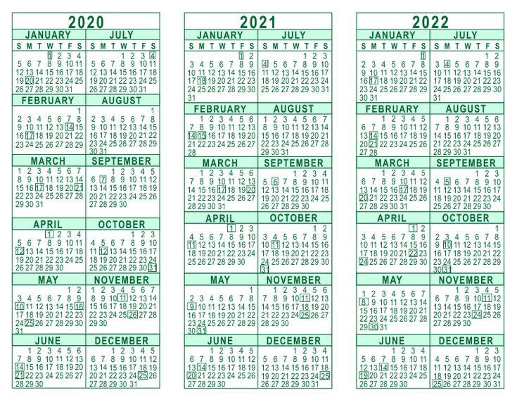 2020 2021 2022 3 Year Calendar | Calendar printables ...