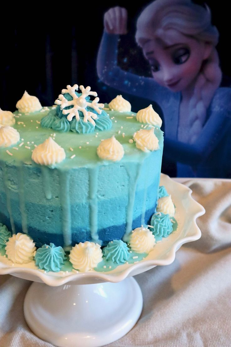 Ombre Drip Cake Inspired By Elsa And Frozen 2 In 2020 Drip Cakes