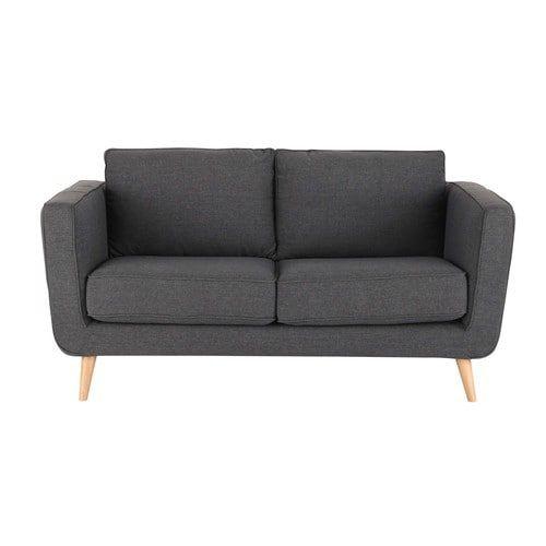 Sofá de 2/3 plazas de tela antracita
