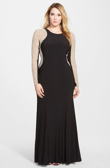 dress Xscape Embellished Jersey Gown (Plus Size)