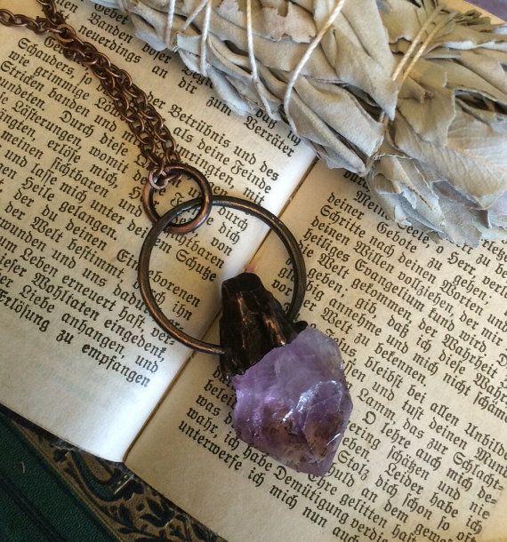 Collier en cristal brut grand collier améthyste brute par FoxLark
