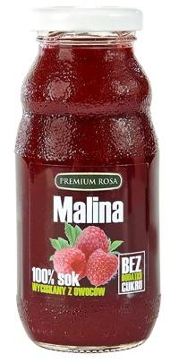 Sok malinowy. Raspberry juce. Sok wyciśniety z owoców malin, pasteryzowany. Malina jest znanym owocen działajacym przeciw przeziebieniu, jest napotna i rozgrzewająca. Sok z malin jest źródlem wielu cennych witamin i mikroelementów.