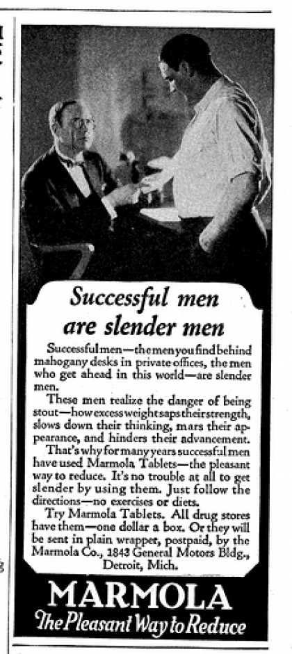 Vintage Beauty and Hygiene Ads of the 1920s. Successful men are slender men. Wow.