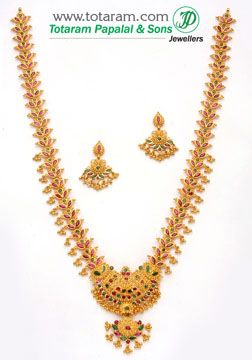 Totaram Jewelers: Buy 22 karat Gold jewelry & Diamond jewellery from India: Rubies & Emeralds Sets