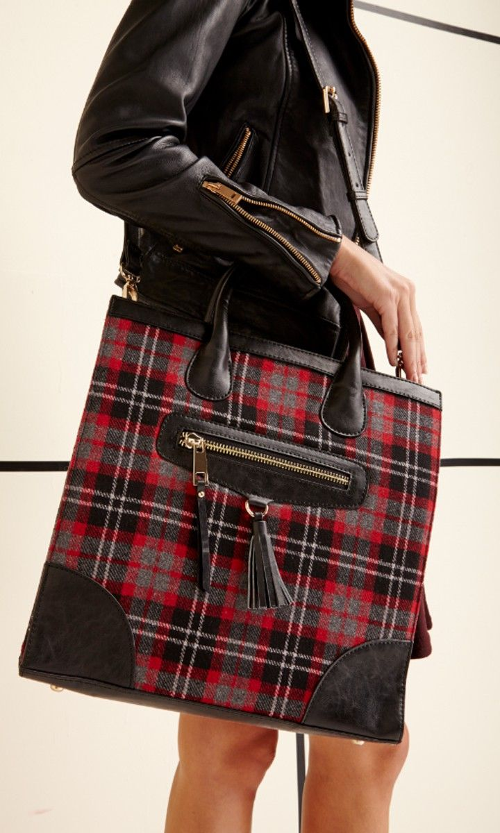 Plaid-printed tote with a front zipper, top handle and removable crossbody strap.