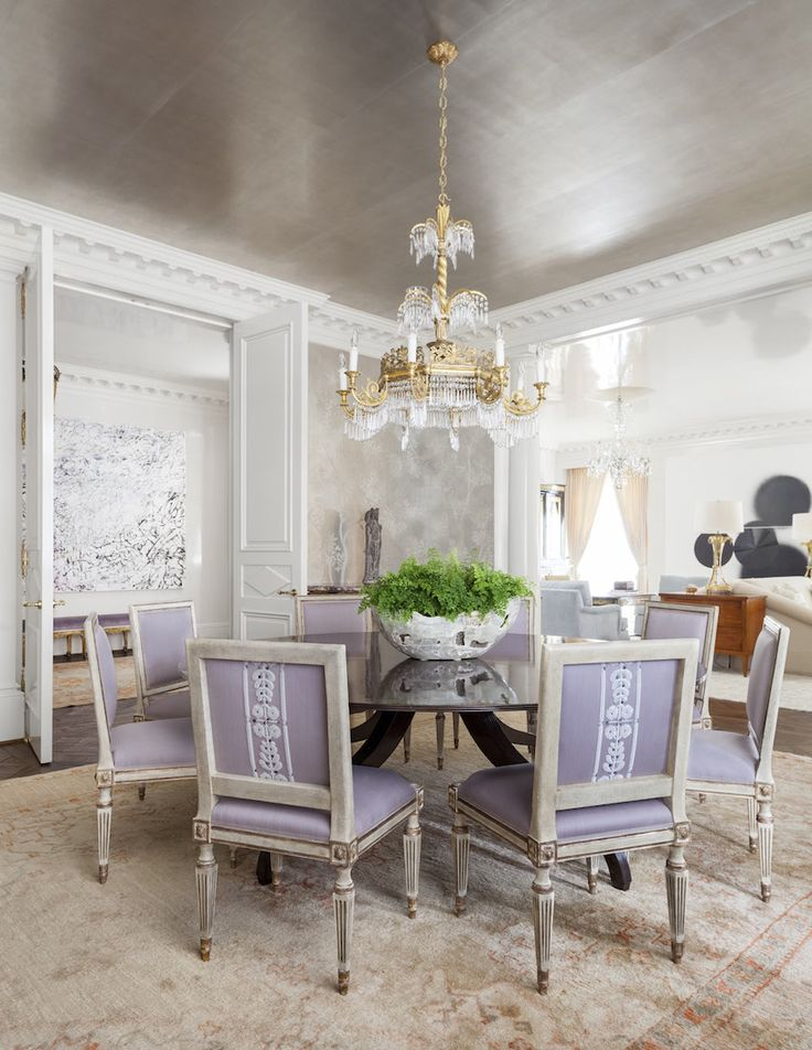 Rosewood Highrise   Collins Interiors Dining Room Silver Leaf Wallpaper  Ceiling Dentil Mouldings