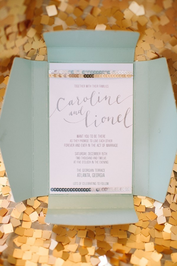 sequined invitations by http://www.buzzycraftery.com/  Photography By / haleysheffield.com