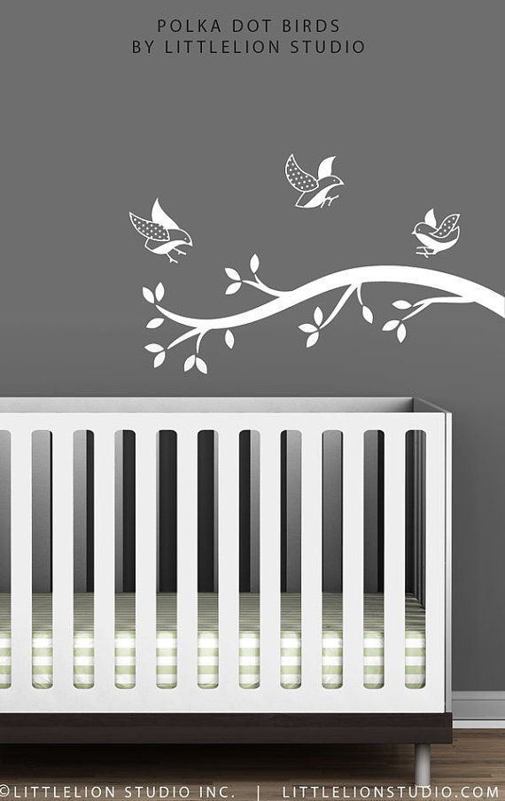 White Polka Dot Birds Branch Wall Decal by by TheWhiteTreeStore, $46.00