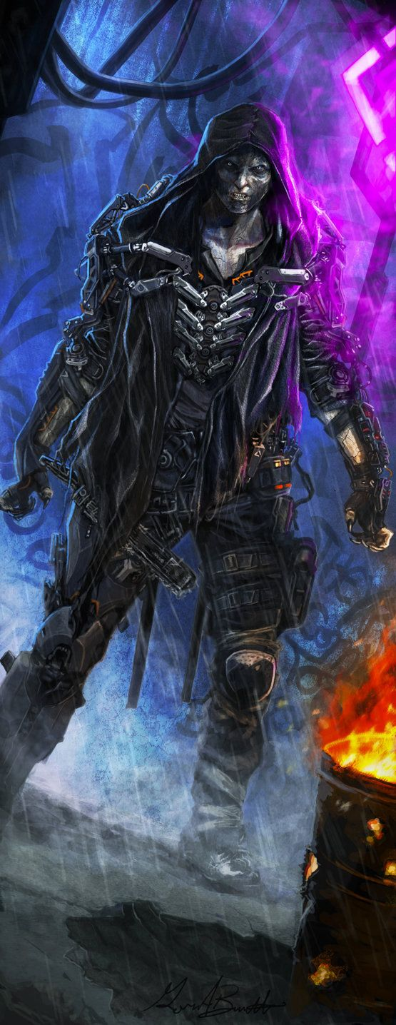 Interior illustration I painted for Shadowrun 5th Edition: Chrome Flesh. I love this guy. I'm playing a runner based off of him now who goes by Jack the Ripper, and uses a battle chainsaw and a hea...