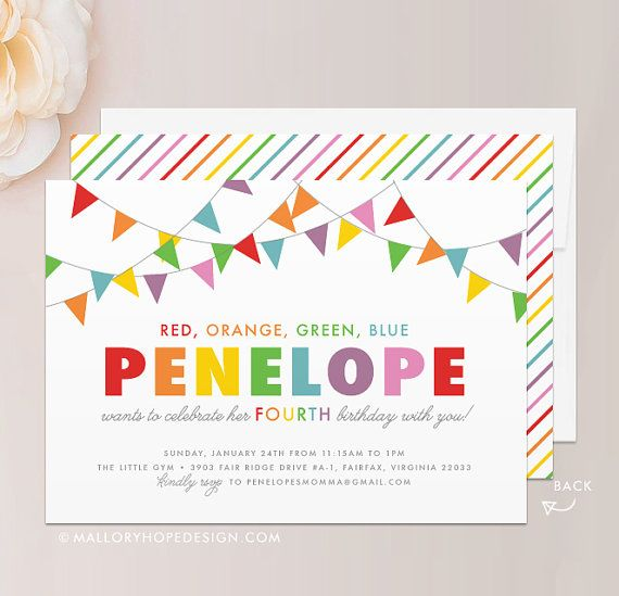 "Rainbow Birthday Invitation - 5""x7"" Invite & Envelope - Banner Birthday, Banner Invitation, Rainbow Invitation, Rainbow Party"