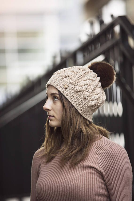 Biscuit Hand Knit Cable Hat with Faux Fur Pom Pom
