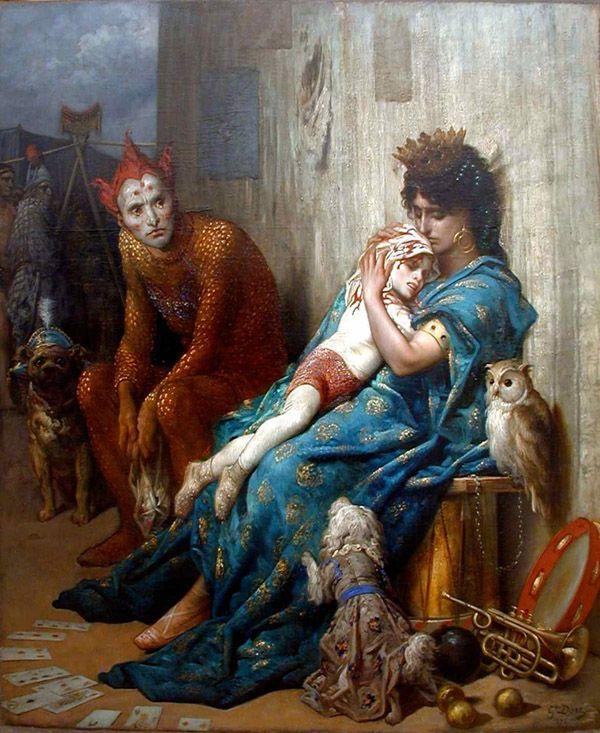 У Гюстава Доре было две версии картины «Семья акробата». Ребенок, умирающий на руках у матери.  За кадром осталось цирковое представление, во время которого ребенок получил травму. Одна версия «земная», а другая «инфернальная»