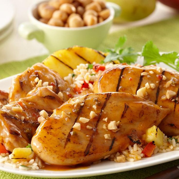 Grab your tongs. We've got grilled chicken with aloha flavor from Lawry's® Hawaiian Marinade and grilled pineapple.