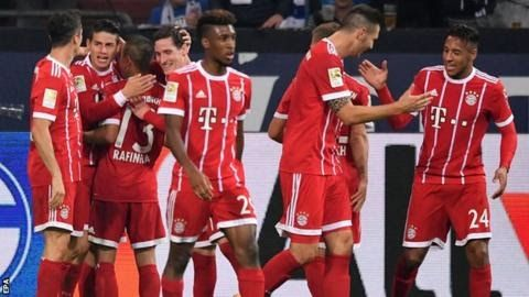 On-loan Rodriguez (second left) joined Real Madrid from Monaco for 71m in 2014  James Rodriguez scored one goal and made two on his first Bundesliga start as Bayern Munich eased past Schalke.  Midfielder Rodriguez on loan from Spanish side Real Madrid tucked in his side's second goal at the front post. The Colombian's cross was handled by defender Naldo and striker Robert Lewandowski netted a penalty. Rodriguez  saved his best for the third cutting inside two defenders before  dinking the…