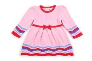 Vestido para bebe niña tejido, en color rosado.