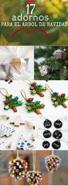 Adornos navideños para el árbol ➜ 17 ideas para hacer tus propios adornos handmade este año. #DIY #Navidad #Xmas #Manualidades #Handfie