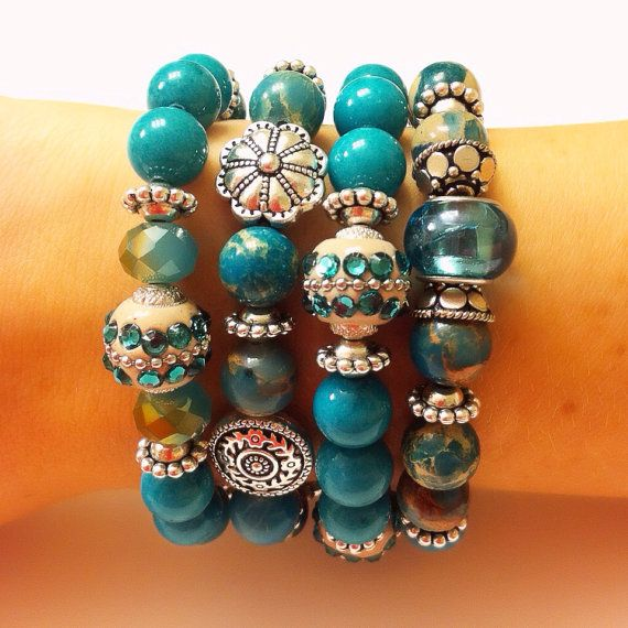 Teal and Silver Handmade Beaded Bracelet Set of 4 on Etsy, $30.00