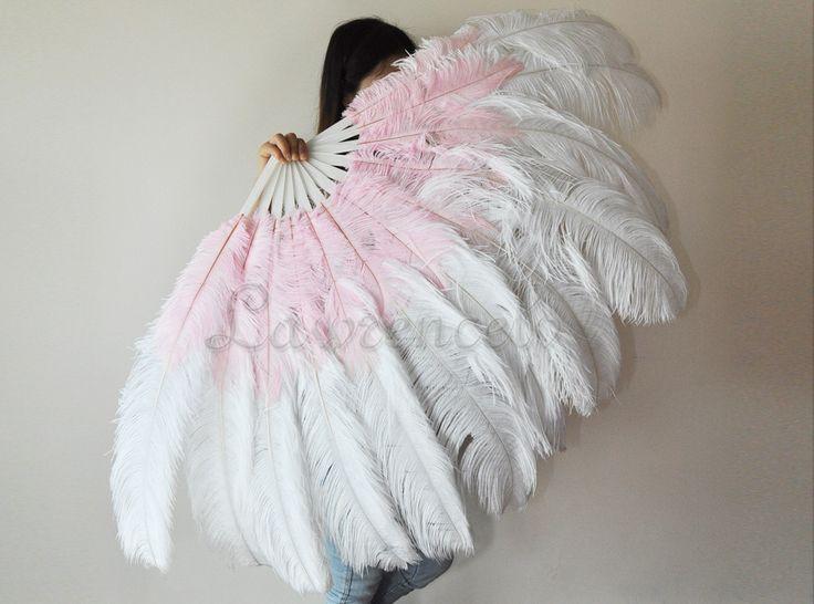 "Burlesque 2-layer White & Pink Ostrich Feather Fan 30""x54"" , Burlesque Dance, Burlesque costume. $110.00, via Etsy."