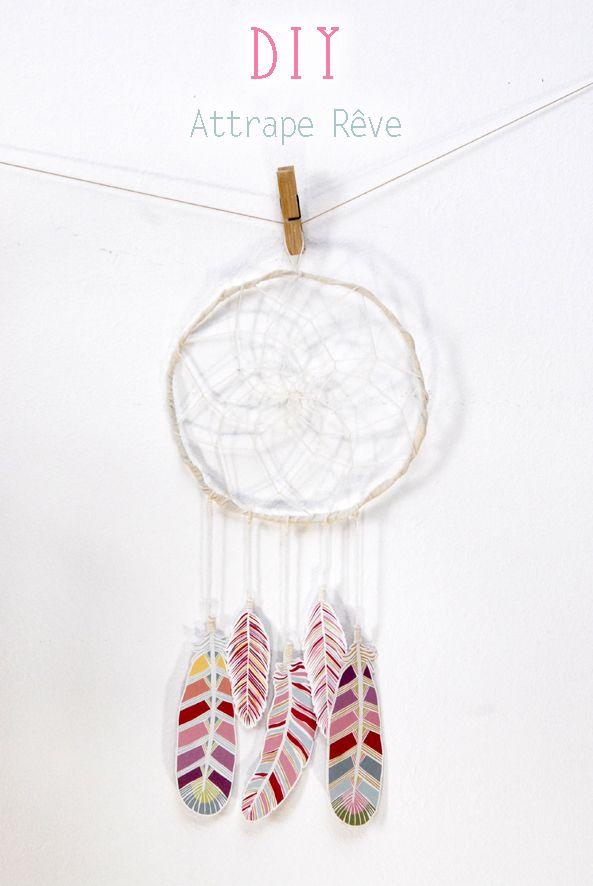 un piège à rêves avec des plumes en papier à imprimer @dans mon bocal