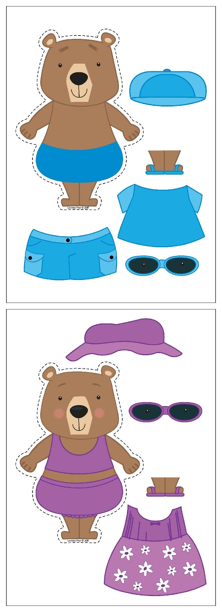 Summer Preschool Centers. Dress the summer bears in matching colors.