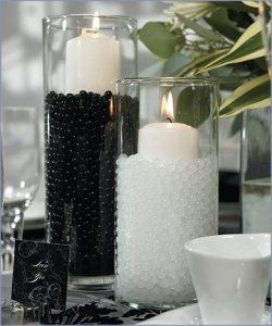 decoDecor, Ideas, Water Pearls, White Wedding, Black And White, Water Beads, Black White, Centerpieces, Center Piece