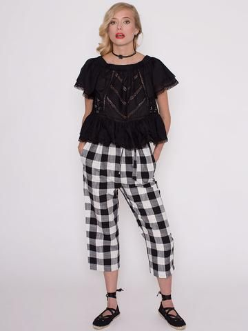 Alanis Checked Trousers with Elasticated Waist and Belt