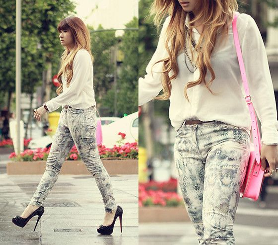 Cloth Inc Classic Chiffon Shirt, Zara Printed Pants, Christian Louboutin Lady Peep Spikes, Cambridge Satchel Satchel Bag