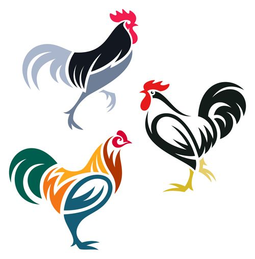 Creative chicken logos vector design 01…