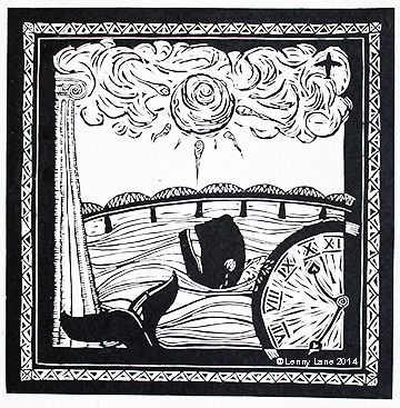 Tay Dreamer. This print illustrates the story of the Tay whale and the architectural history of the city of Dundee, including the Tay Bridge disaster.