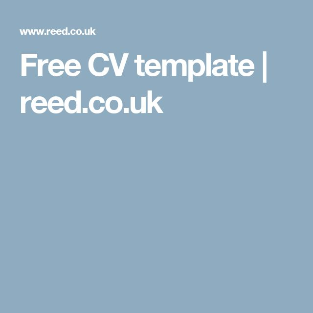Free CV template | reed.co.uk