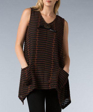 Loving this Copper & Black Pocket Sidetail Tunic - Women on #zulily! #zulilyfinds