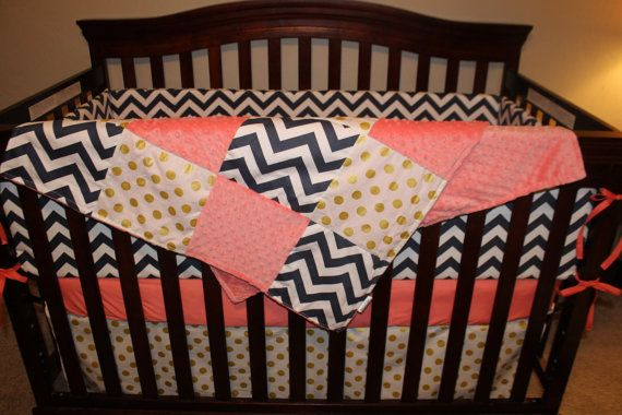 Baby Girl Crib Bedding Navy Chevron Coral by DesignsbyChristyS