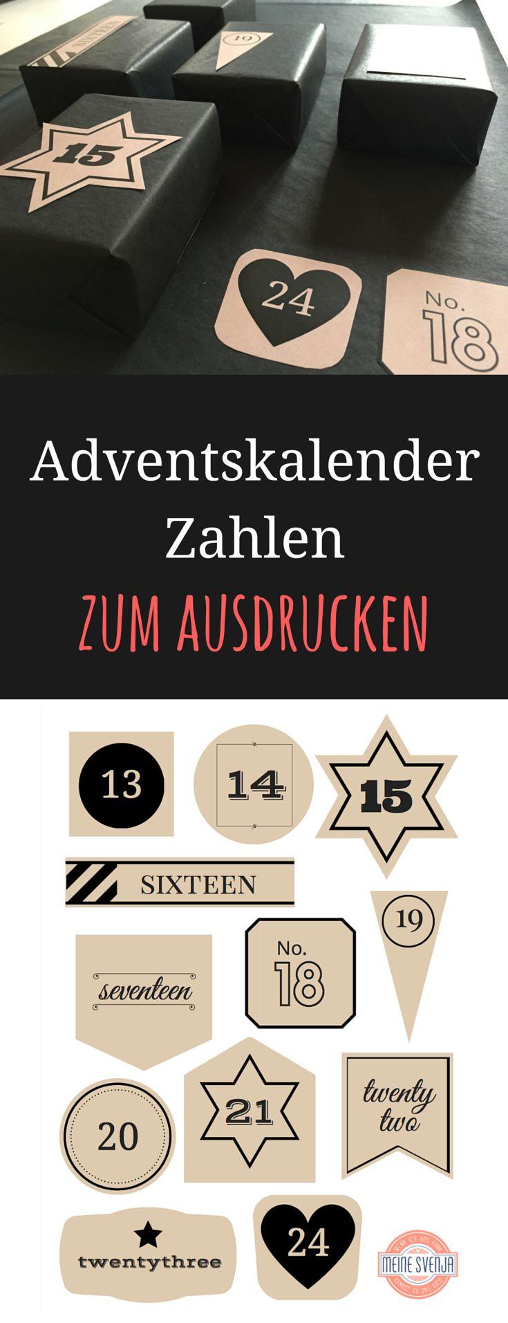 Adventskalender Vorlage zum kostenfreien Ausdrucken. Mit weißen und schwarzen Zahlen - jeweils im kompletten 24er Set. Ich hoffe, ich mache euch damit eine Freude! ***Free Advent Calendar Printables