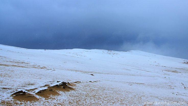 La neige sur la Dune du Pilat, le 7 février 2018. Evénement exceptionnel. Il n'avait plus neigé depuis 2011.   Snow on Pilat Dune. France.