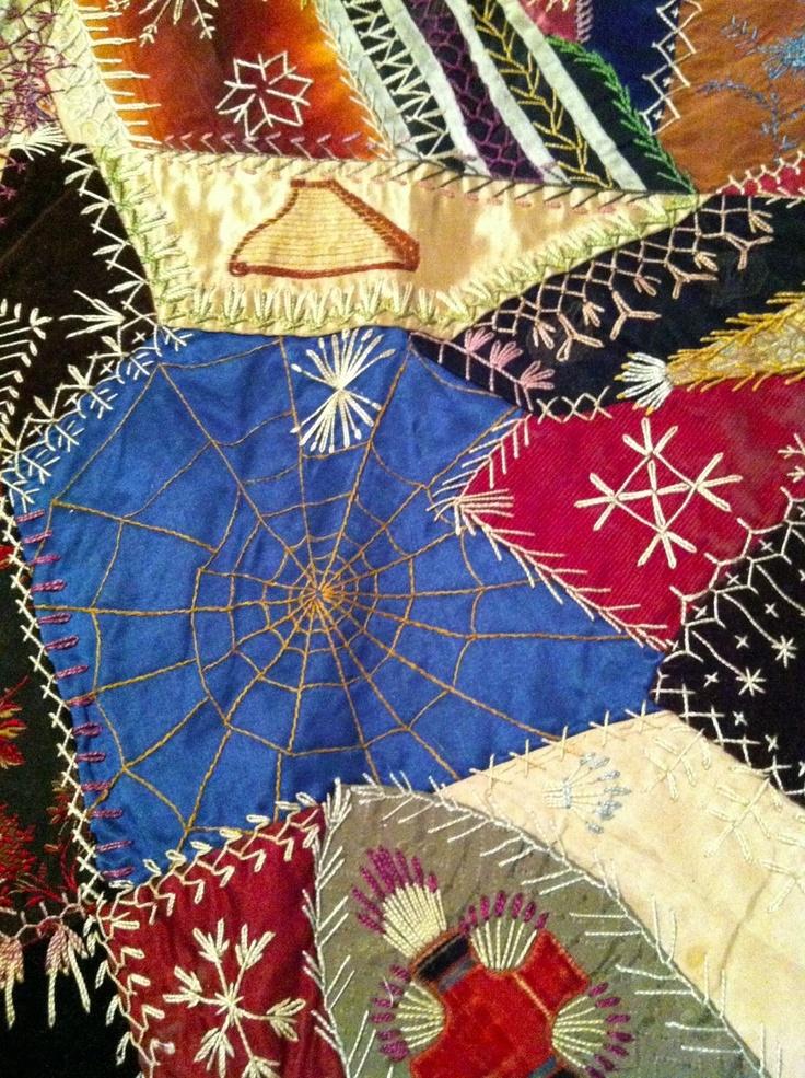 74 best crazy quilt - spider webs images on Pinterest | Embroidery ... : crazy quilt definition - Adamdwight.com