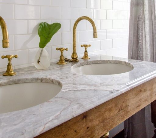 marble, brass, wood, white subway tile:
