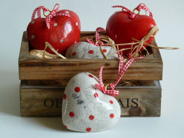 Lovely hearts in Raku with red check ribbon, plain red, plain white (not shown) red with white spot and white with red spot - ideal for valantines