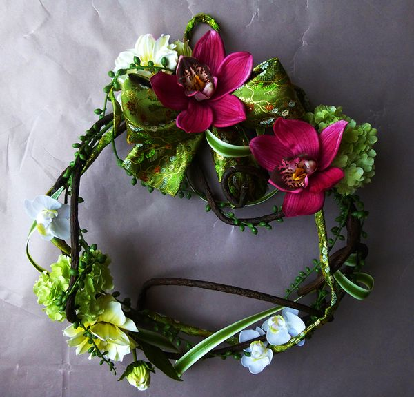 Artificial Flower Wreath with Japanese Kimono Material by Kent Florist Mikiko Inoue