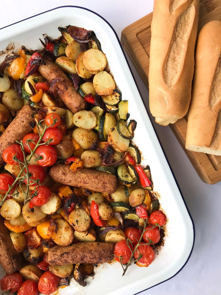 Easy meals recipe 1 veggie sausage red pesto tray bake