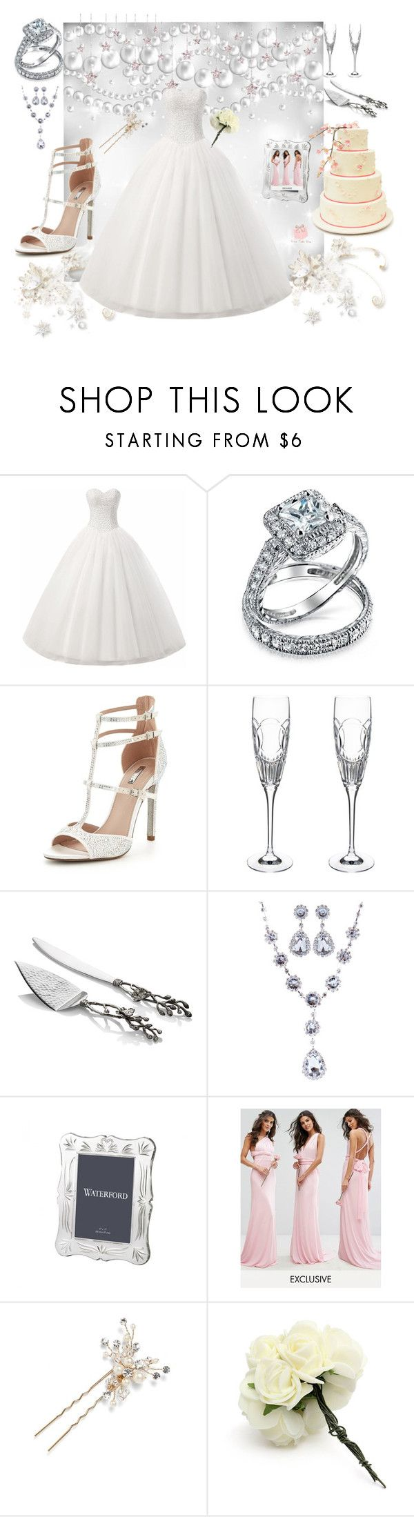 """WINTER WEDDING DREAMS"" by rebeccadavisblogger ❤ liked on Polyvore featuring Bling Jewelry, Carvela, Waterford, Michael Aram, TFNC and Wedding Belles New York"