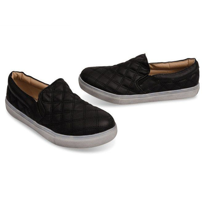 Wsuwane Trampki Pikowane Slip On 9033 Czarny Czarne Sneakers How To Make Shoes Trainers Women