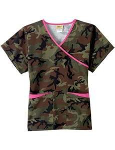 camo scrubs. Pair it with pink bottoms and we are set!