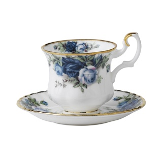 Moonlight Rose Coffee Saucer By Royal Albert Product Code (UPC): 798901063100 This Coffee Saucer is decorated with the Old Country Roses' signature floral motif in a bold new palette of blue and lavender.