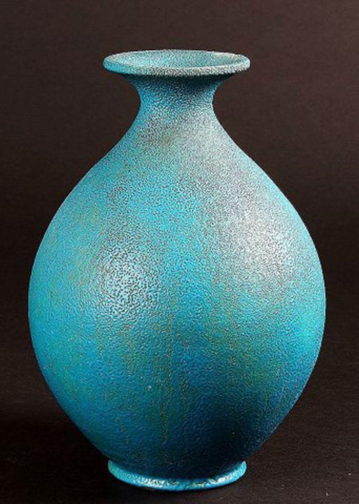Floor vase by Svend Hammershoi for Kähler, HAK, glazed stoneware vase, 1940s…