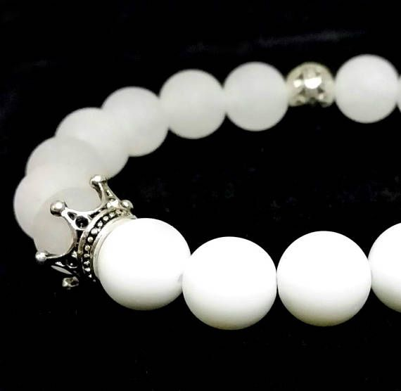 White bracelet with crowns  White Jade and Alabaster