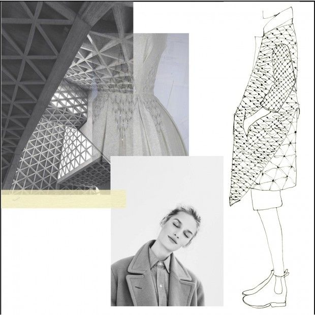 Fashion Sketchbook - smocked jacket design inspired by architecture - fashion drawing; fashion portfolio layout // Faiza Matovu
