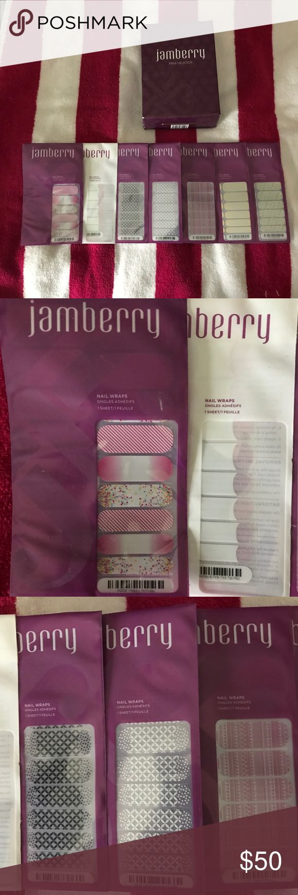 Jamberry Nail Wrap kit Jamberry mini heater for wrap application (gently used), and 7 new wraps! Only 2 available online- shown in screen shots. Jamberry Makeup