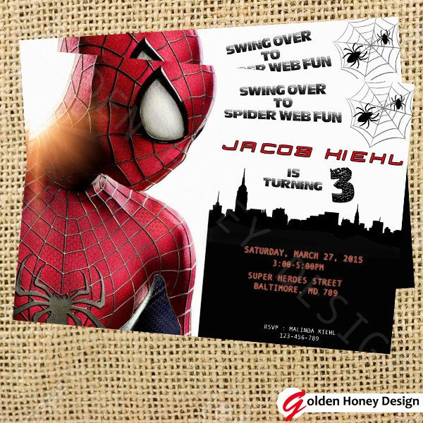 Spiderman invitation . A personal favorite from my Etsy shop https://www.etsy.com/listing/225425235/spiderman-invitation-spiderman-movie