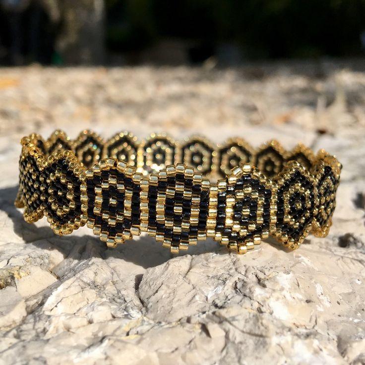 Sur commande Bracelet anneau noir et doré - collection so chic